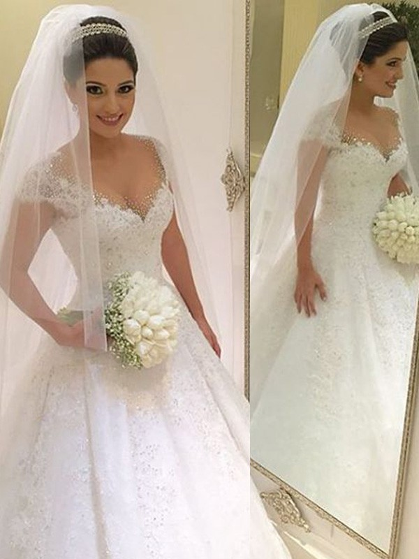 Amazing Ball Gown V-neck Cut Tulle Long Wedding Dresses With Beading
