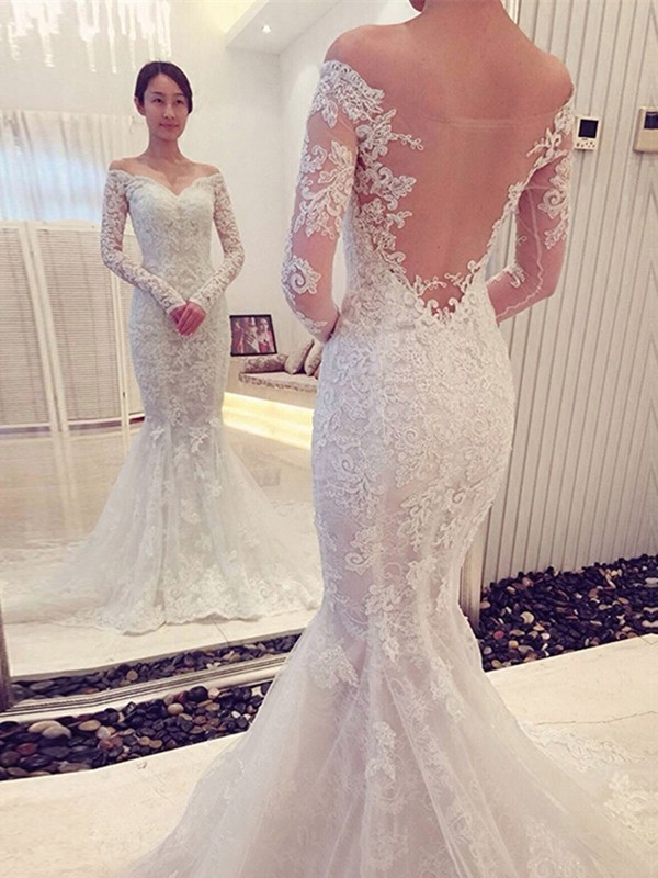 Special Mermaid Off-the-Shoulder Cut Lace Long Wedding Dresses With Ruffles