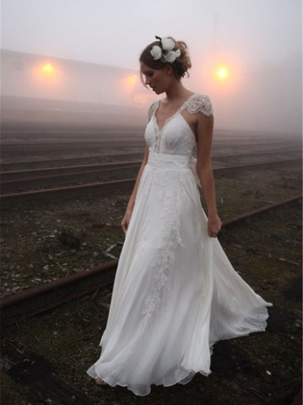 Radiant A-Line V-neck Cut Chiffon Long Wedding Dresses With Lace