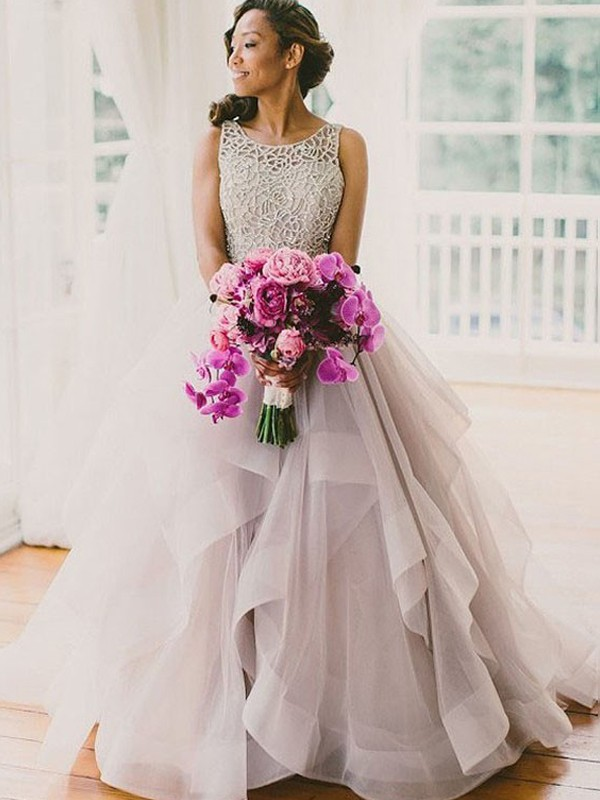 Stylish Ball Gown Scoop Cut Net Long Wedding Dresses With Beading