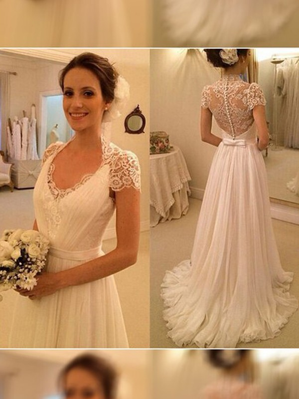 Popular A-Line V-neck Cut Chiffon Long Wedding Dresses With Lace
