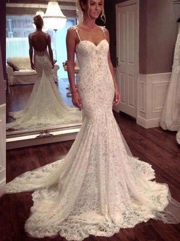 Pretty Mermaid Spaghetti Straps Cut Lace Long Wedding Dresses With Lace