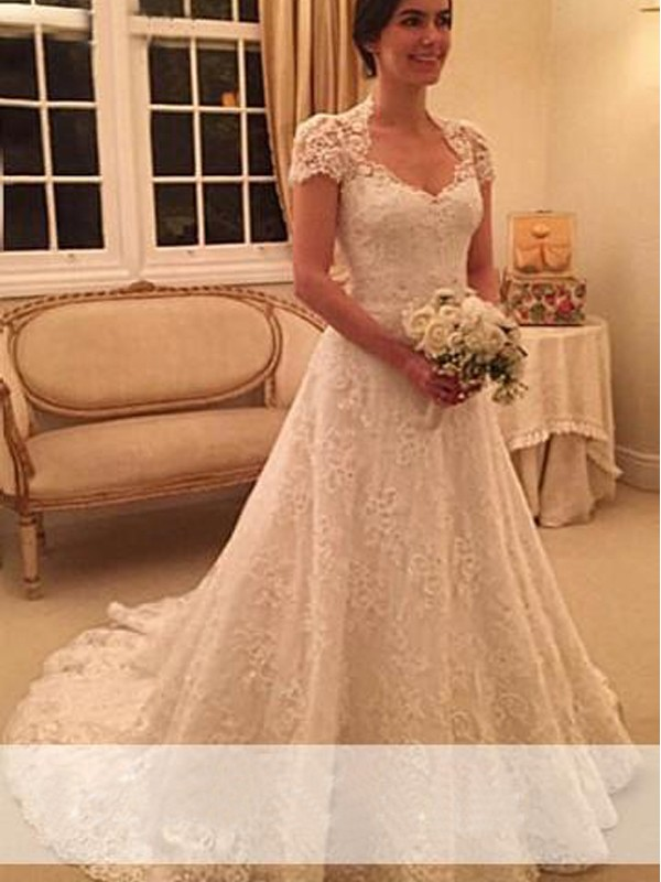 Exquisite A-Line Sweetheart Cut Lace Long Wedding Dresses With Lace