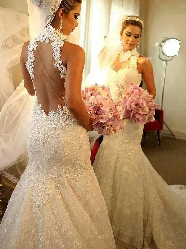 Amazing Mermaid High Neck Cut Lace Long Wedding Dresses With Lace