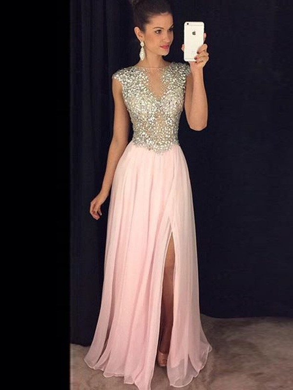 Attractive A-Line Bateau Cut Chiffon Long Dresses With Sequin