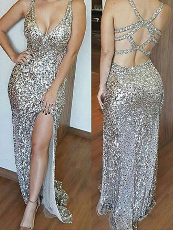 Dreamlike Sheath V-neck Cut Sequins Long Dresses With Ruffles