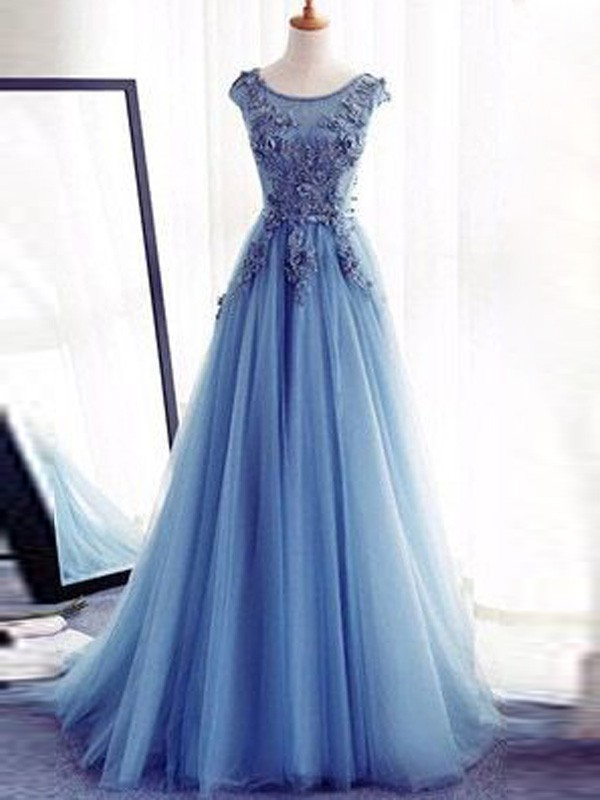 Brilliant Ball Gown Jewel Cut Tulle Long Dresses With Applique
