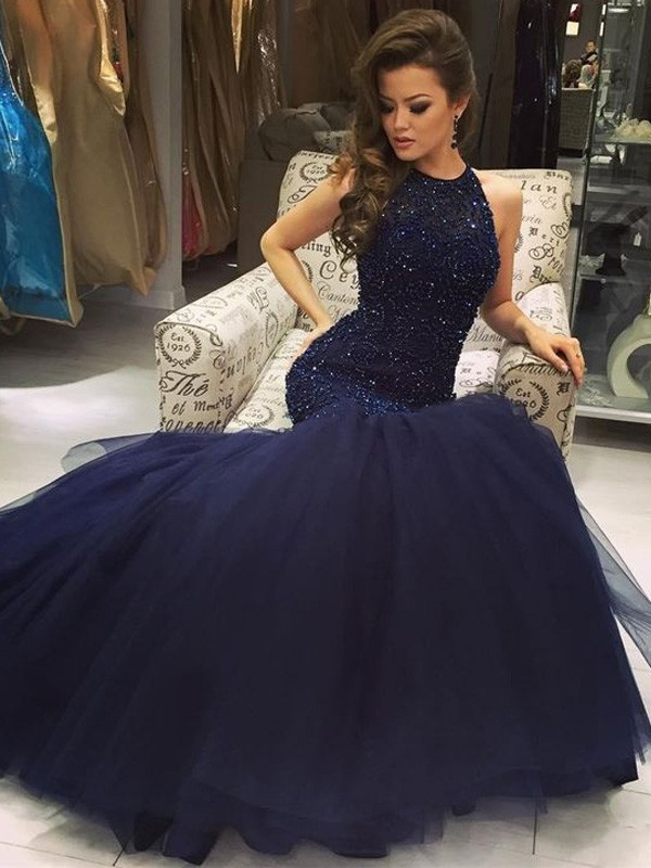 Soft Mermaid Jewel Cut Tulle Long Dresses With Beading