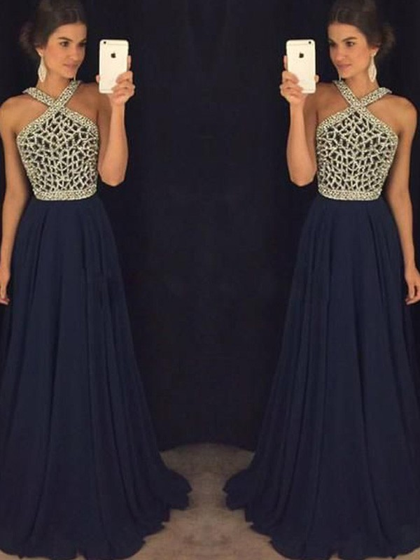Radiant A-Line Halter Cut Chiffon Long Dresses With Beading