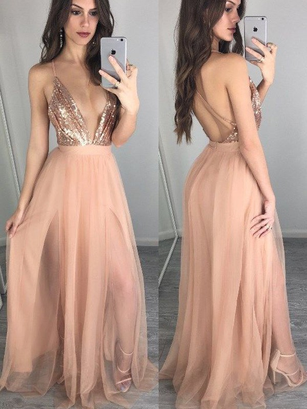 Popular A-Line Spaghetti Straps Cut Chiffon Long Dresses With Sequin