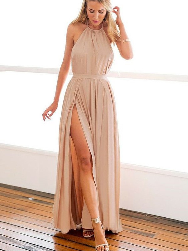 Gorgeous A-Line Halter Cut Chiffon Long Dresses With Beading