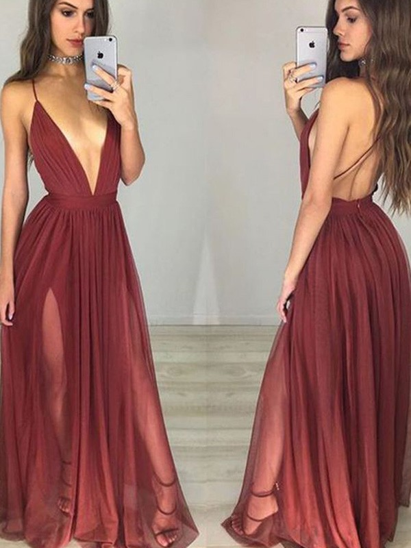 Charming A-Line Spaghetti Straps Cut Chiffon Long Dresses With Ruched