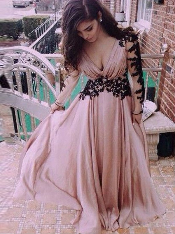 Exquisite A-Line V-neck Cut Chiffon Long Dresses With Applique