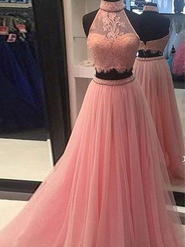 Unique A-Line High Neck Cut Tulle Long Two Piece Dresses With Lace