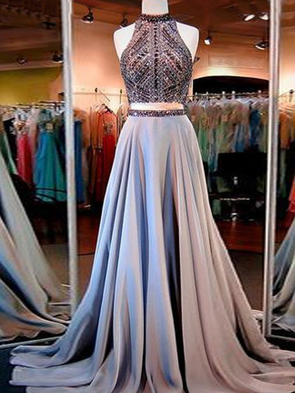 Amazing A-Line High Neck Cut Satin Long Two Piece Dresses With Beading