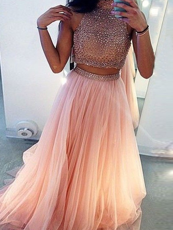 Graceful A-Line High Neck Cut Tulle Long Two Piece Dresses With Beading