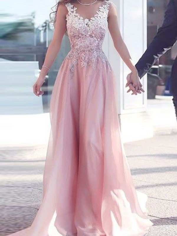 Fashional A-Line Sweetheart Cut Chiffon Long Dresses With Applique