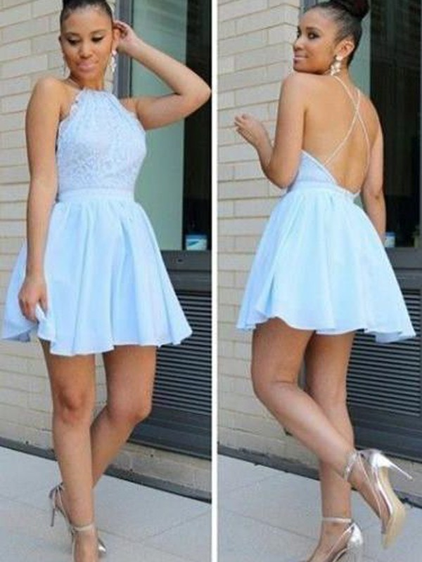 Smart A-Line Halter Cut Chiffon Short Dresses With Lace