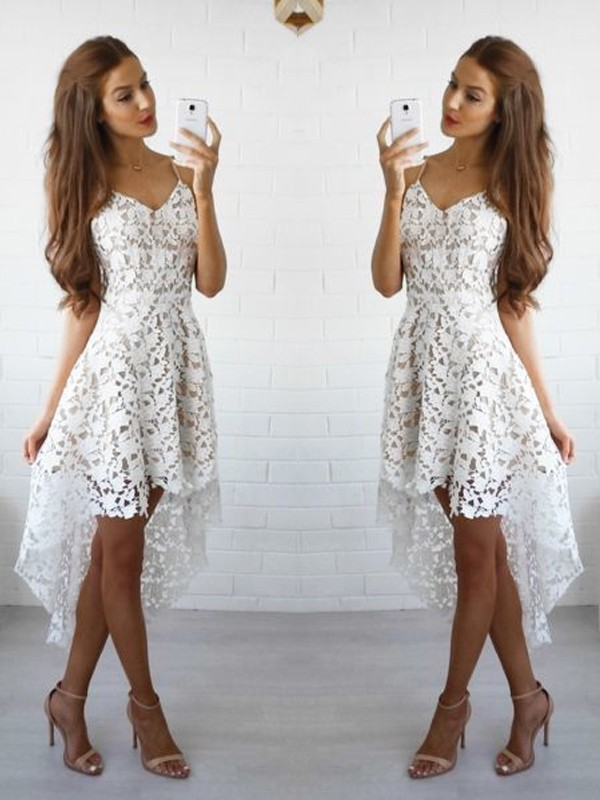 Hot A-Line Spaghetti Straps Cut Lace Short Dresses With Ruffles