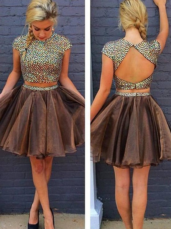 Trendy A-Line Scoop Cut Organza Short Two Piece Dresses With Beading