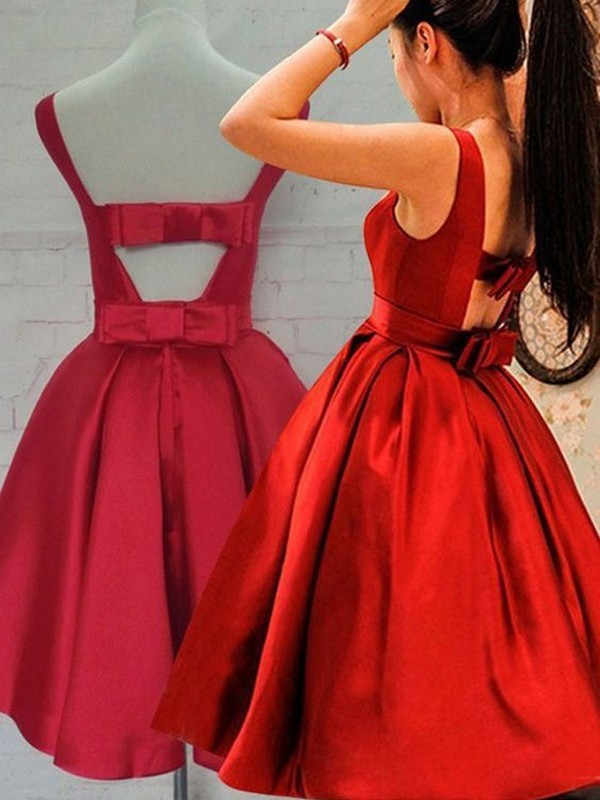 Stunning A-Line Scoop Cut Satin Short Dresses With Sash/Ribbon/Belt