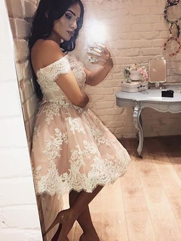 Lovely A-Line Off-the-Shoulder Cut Lace Short Dresses With Ruffles