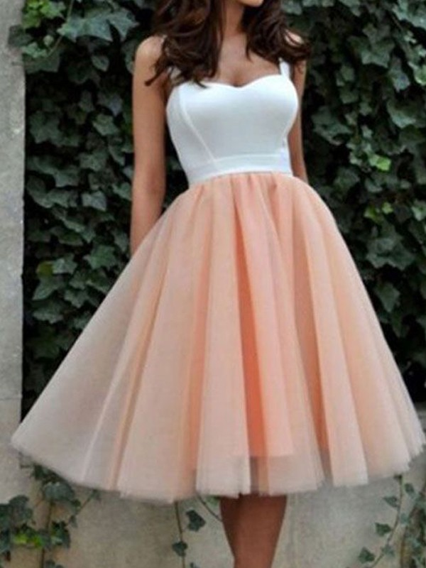 Special A-Line Sweetheart Cut Tulle Short Dresses With Ruffles