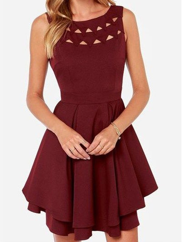 Brilliant A-Line Scoop Cut Jersey Short Dresses With Ruffles