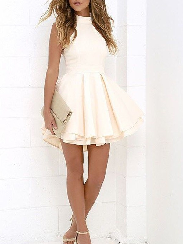 Modern A-Line Halter Cut Satin Short Dresses With Ruffles