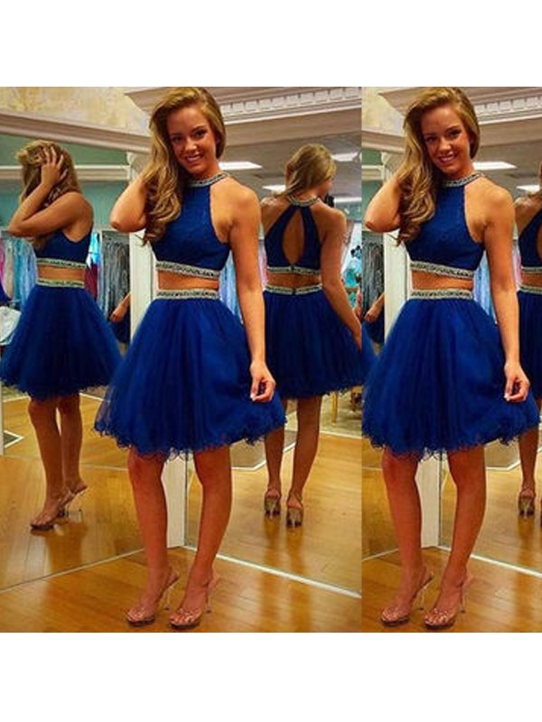 Glamorous A-Line Halter Cut Tulle Short Two Piece Dresses With Beading