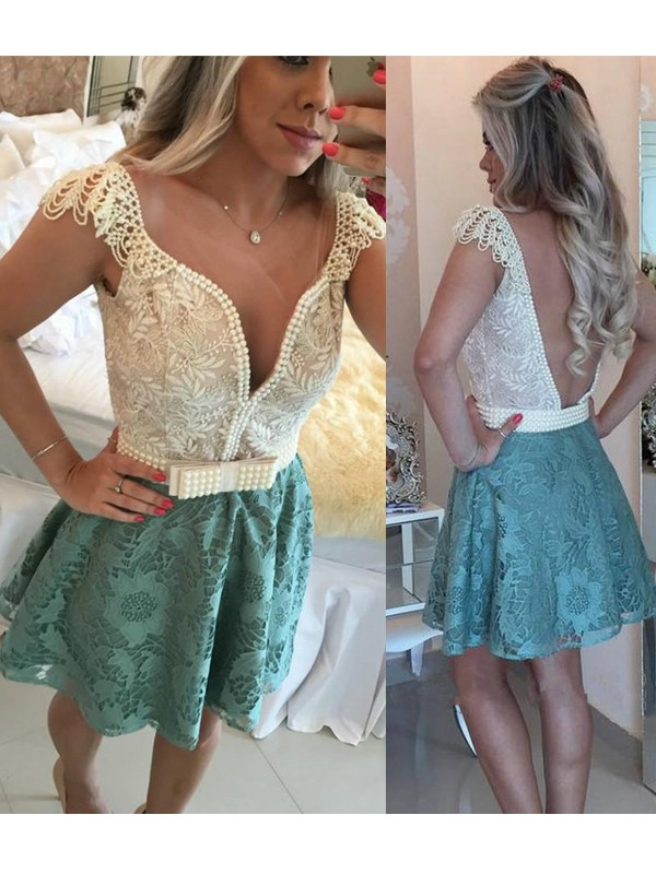 Pretty A-Line V-neck Cut Lace Short Dresses With Beading