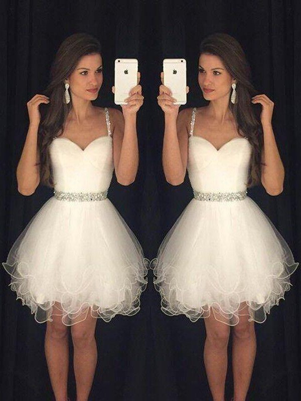 Lovely A-Line Sweetheart Cut Tulle Short Dresses With Beading
