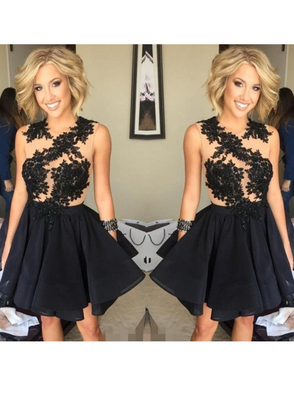Attractive A-Line Scoop Cut Chiffon Short Dresses With Lace