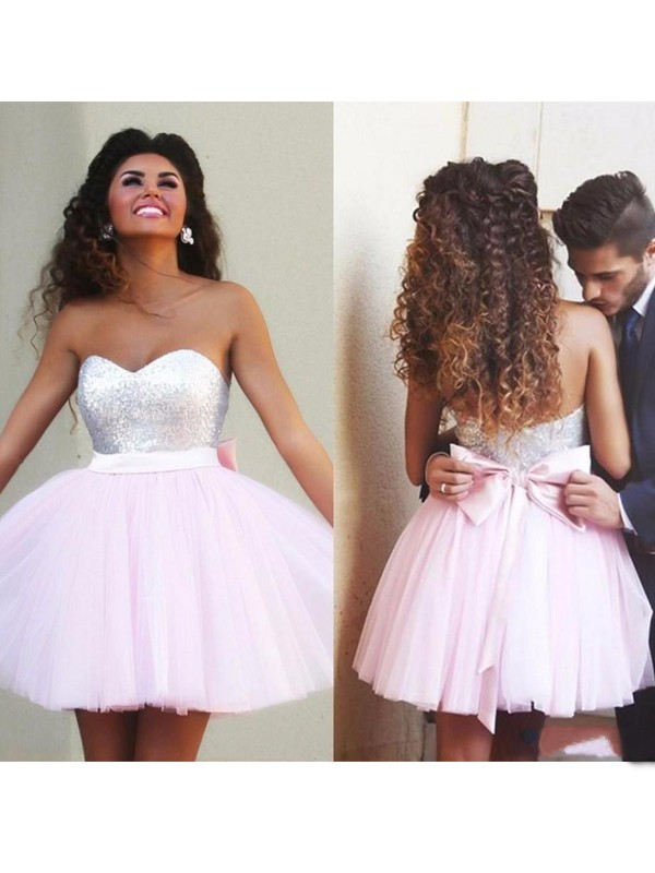 Special A-Line Sweetheart Cut Tulle Short Dresses With Beading