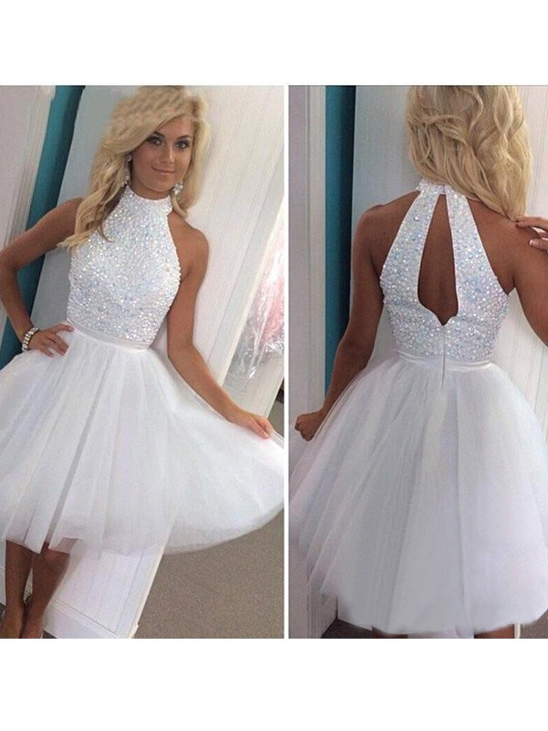 Delicate A-Line Halter Cut Tulle Short Dresses With Beading