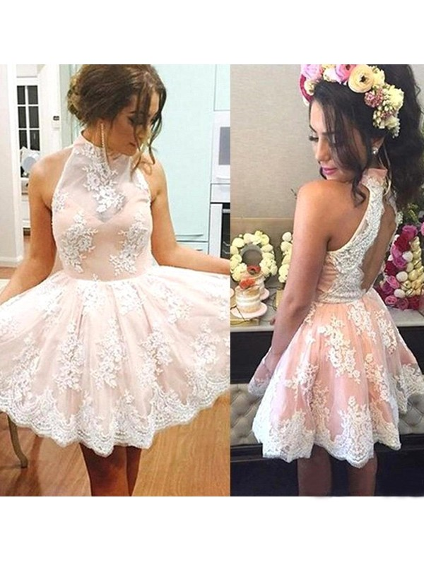 Brilliant A-Line High Neck Cut Lace Short Dresses With Ruffles