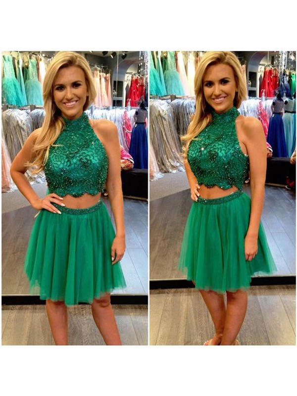 Smart A-Line High Neck Cut Tulle Short Two Piece Dresses With Beading