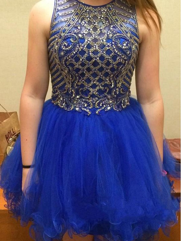 Nice A-Line Scoop Cut Tulle Short Dresses With Beading