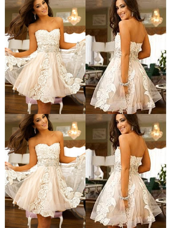 Graceful A-Line Sweetheart Cut Tulle Short Dresses With Applique