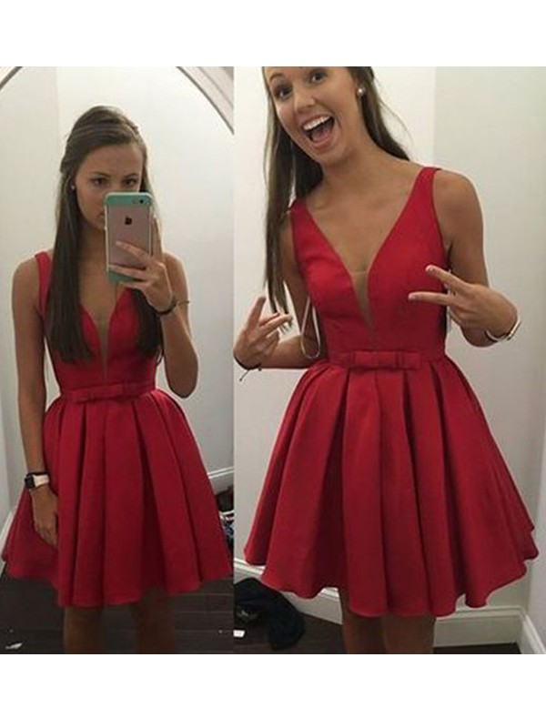 Romantic A-Line V-neck Cut Satin Short Dresses With Bowknot