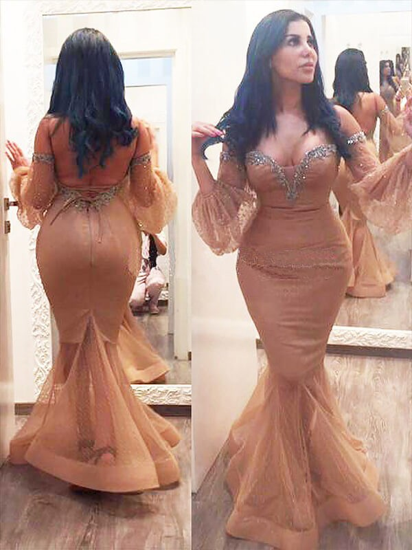 Brilliant Mermaid Off-the-Shoulder Cut Silk like Satin Long Plus Size Dresses With Beading