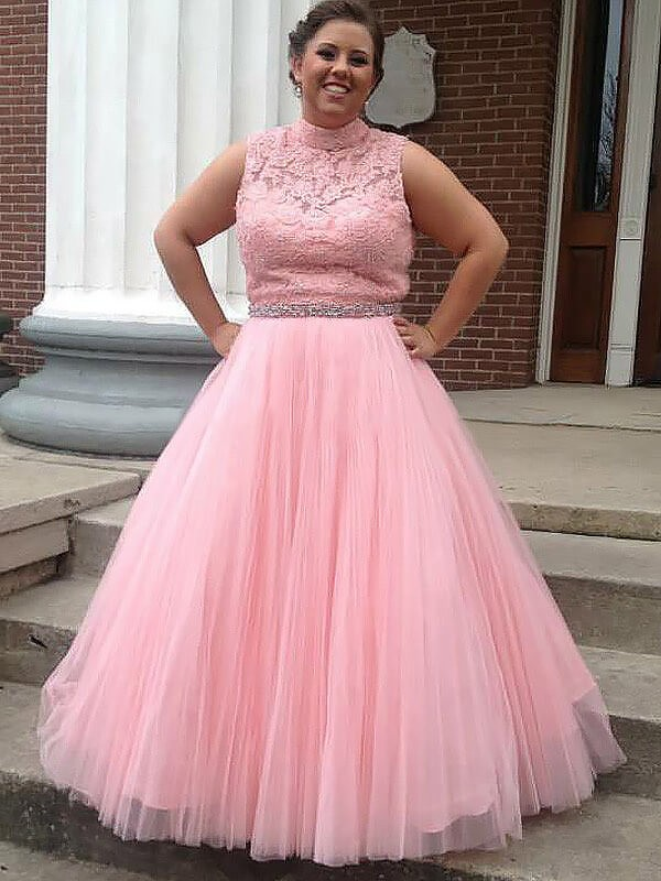 Smart Ball Gown High Neck Cut Tulle Long Plus Size Dresses With Applique