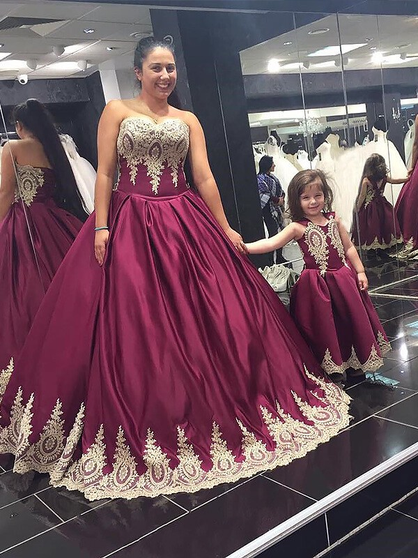 Popular Ball Gown Sweetheart Cut Satin Long Plus Size Dresses With Applique