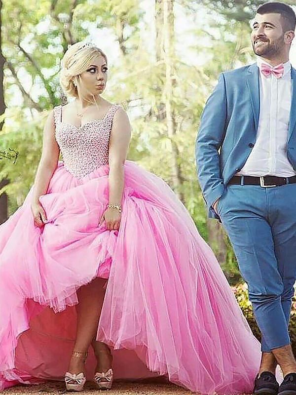 Gorgeous Ball Gown Sweetheart Cut Tulle Long Plus Size Dresses With Pearls