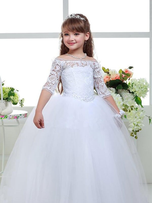 717cbbd37ca5 Graceful Ball Gown Off-the-Shoulder Cut Tulle Long Flower Girl Dresses With  Lace