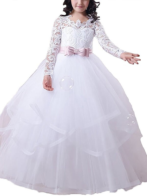 Fashional Ball Gown Jewel Cut Tulle Long Flower Girl Dresses With Lace