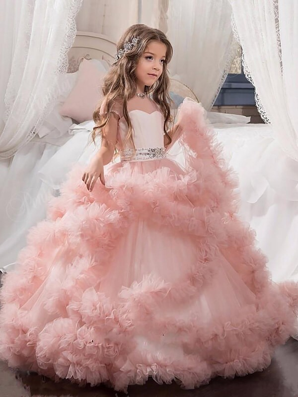 Romantic Ball Gown Jewel Cut Tulle Long Flower Girl Dresses With Crystal