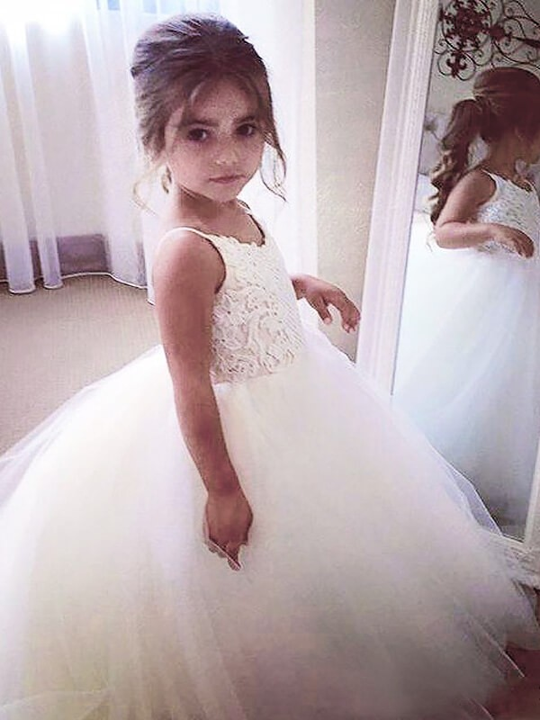 Attractive Ball Gown Jewel Cut Tulle Long Flower Girl Dresses With Lace