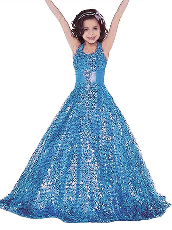 Special Ball Gown Halter Cut Sequins Long Flower Girl Dresses With Ruffles