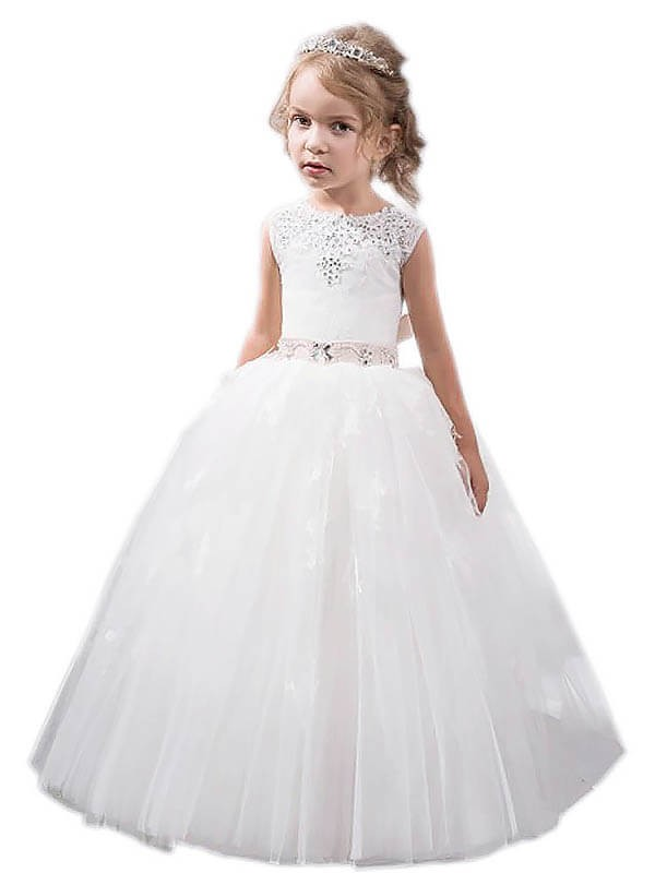 Popular Ball Gown Jewel Cut Tulle Long Flower Girl Dresses With Crystal